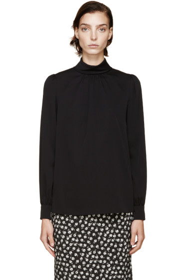 Dolce & Gabbana - Black Stand Collar Silk Top