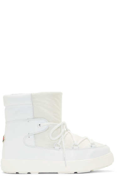 Moncler - White Leather Fanny Ankle Boots