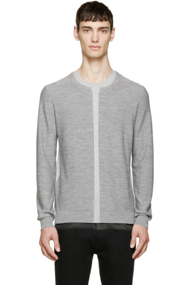 McQ Alexander Mcqueen - Grey Two-Tone Wool Sweater