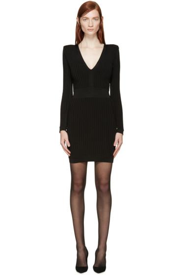 Balmain - Black Ribbed V-Neck Dress