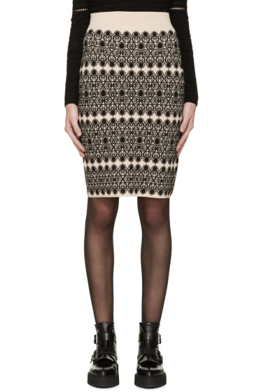 Alexander McQueen - Beige & Black Pencil Skirt
