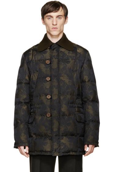 Alexander McQueen - Black & Green Floral Print Down Jacket