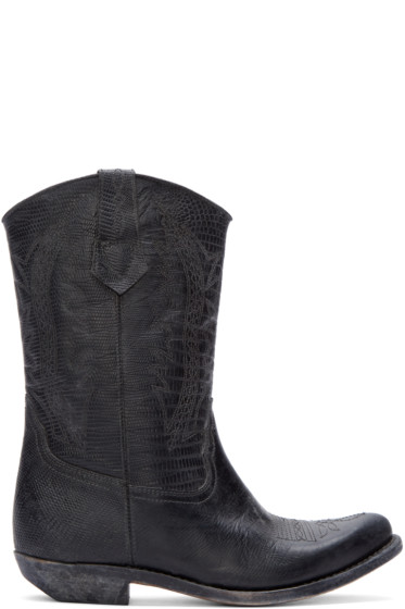 Golden Goose - Black Leather Victoria Cowboy Boots