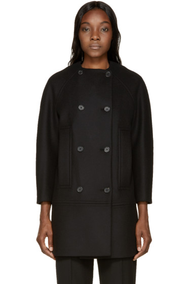 Proenza Schouler - Black Double-Breasted Collarless Coat