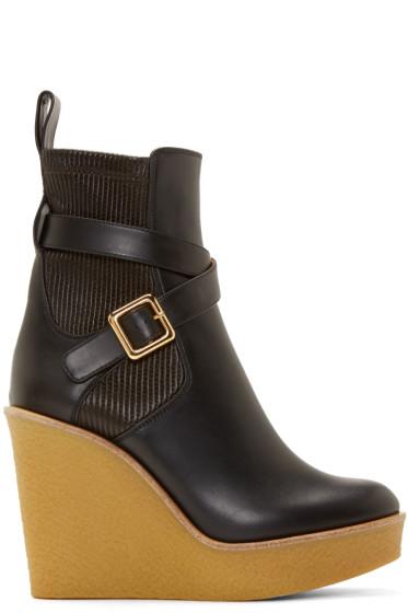 Chloé - Black Leather Buckle Platform Boots