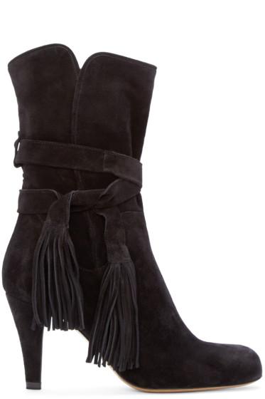 Chloé - Black Suede Fringe Ankle Boots