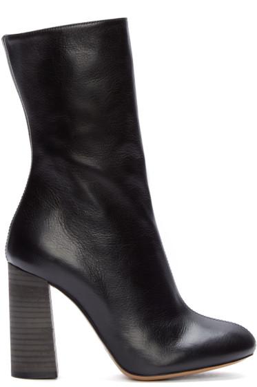 Chloé - Black Leather Mid-Calf Boots