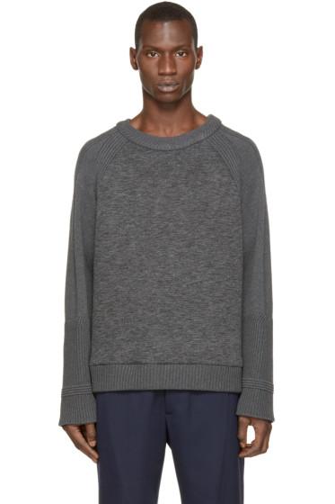 Juun.J - Grey Neoprene & Knit Sweater