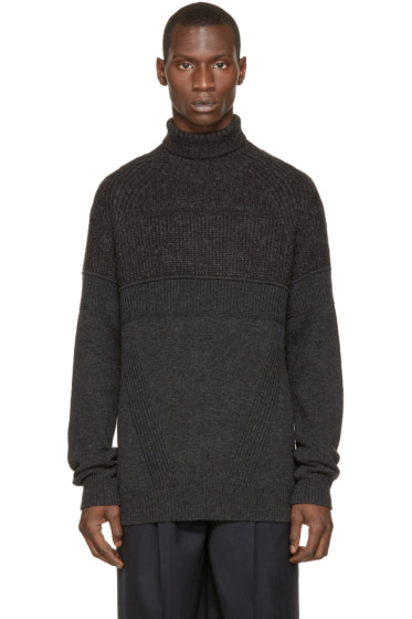 Juun.J - Grey Ribbed Wool Turtleneck