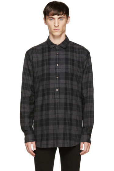 BLK DNM - Grey Check Flannel Shirt