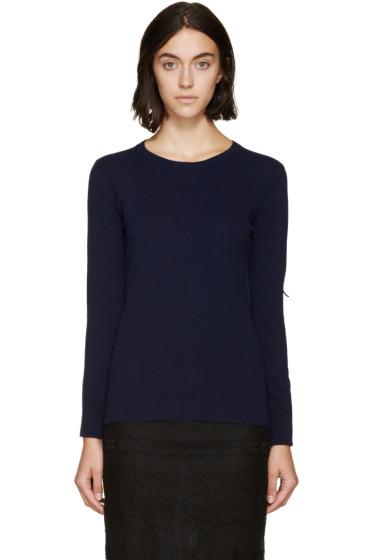 Burberry Prorsum - Navy Fringed Knit Sweater