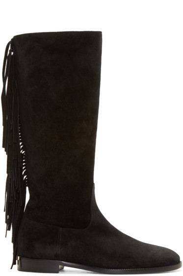 Burberry Prorsum - Black Suede Fringed Boots