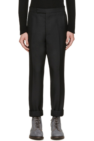 Thom Browne - Black Wool Tapered Trousers