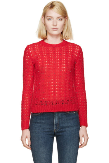 Saint Laurent - Red Mohair Crystal Sweater