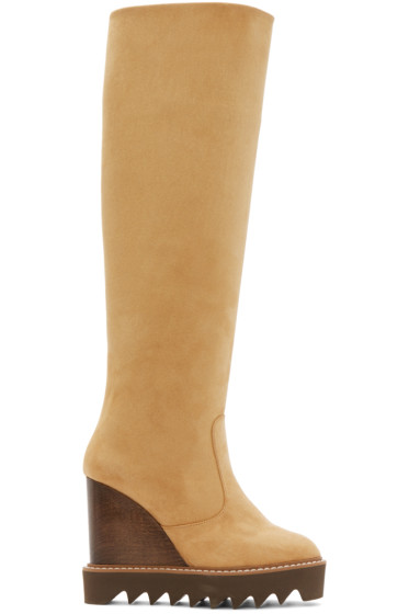 Stella McCartney - Tan Knee-High Wedge Boots