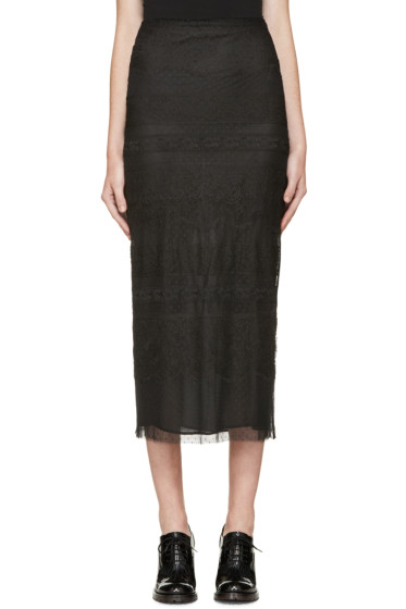 Valentino - Black Lace Pencil Skirt