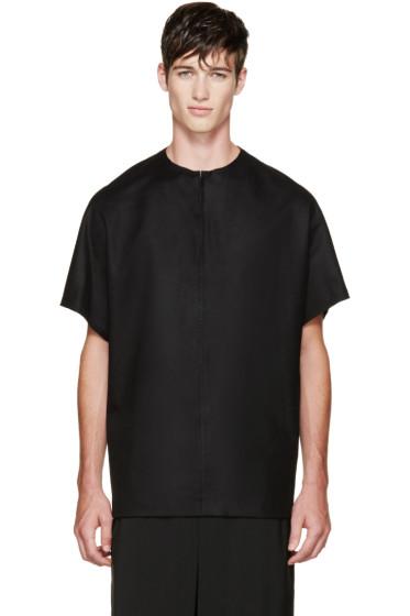 Thamanyah - Black Wool Loden T-Shirt