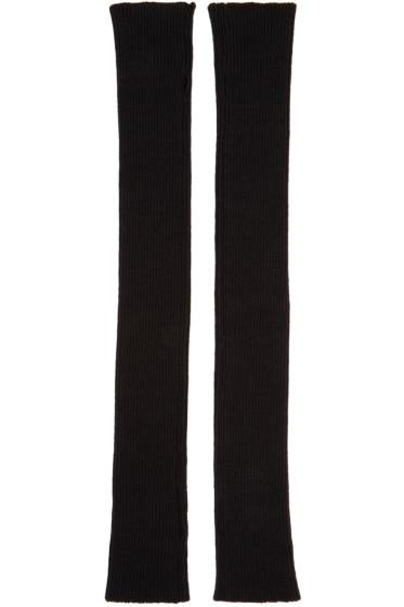 Thamanyah - Black Wool Knit Fingerless Gloves