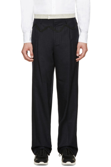Kolor - Navy Embroidered Wool Trousers