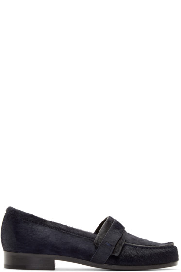 Carritz - Navy Calf-Hair Loafers