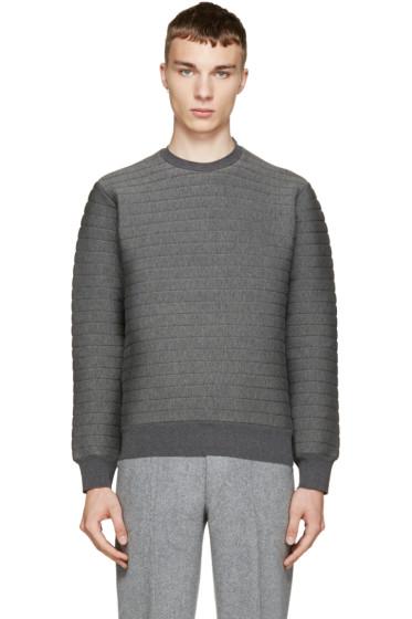 Johnlawrencesullivan - Grey Quilted Neoprene Sweatshirt