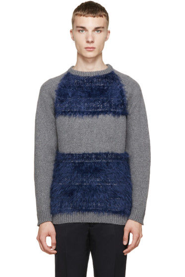 Undecorated Man - Grey & Blue Colorblocked Sweater