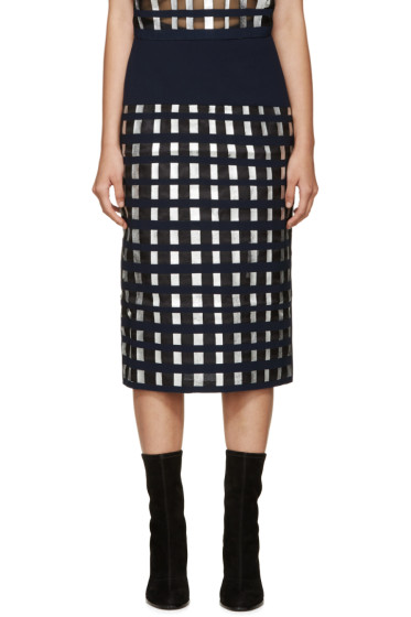 Rejina Pyo - Navy & Silver Sasha Lattice Skirt