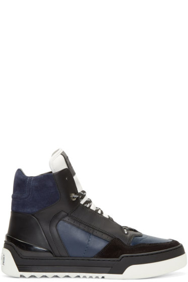 Fendi - Navy Leather Tank High-Top Sneakers