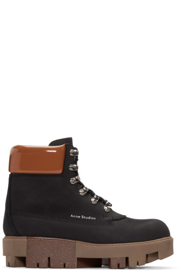 b2a099180f2 Acne Studios Black Telde Hiking Boots from SSENSE - Styhunt