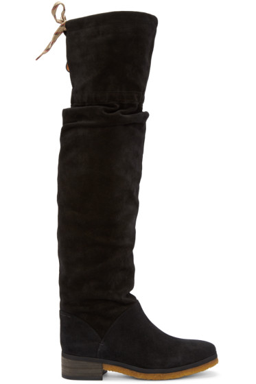64887221b60 See by Chloe Black Suede Jona Over-the-Knee Boots