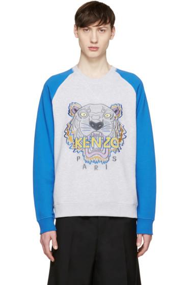 Kenzo - Grey & Blue Raglan Tiger Pullover