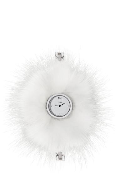 Fendi - Silver & White My Way Fur Glamy Watch