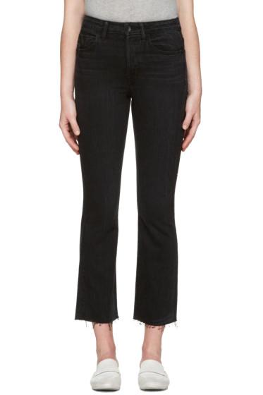Helmut Lang - Black High Rise Crop Raw Jeans