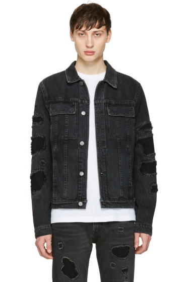 Helmut Lang - Black Mr 87 Destroy Denim Jacket