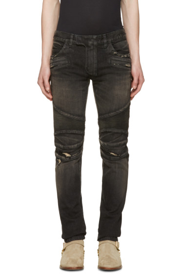 Balmain - Black Distressed Biker Rib Jeans