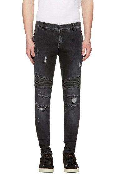 Balmain - Black Distressed Slim Jeans