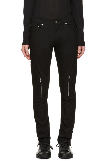 Alexander McQueen - Black Leather Pockets Jeans