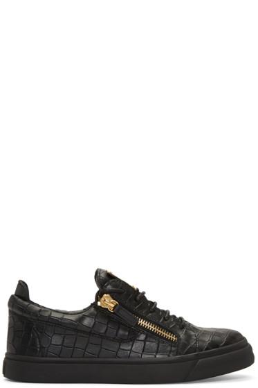 Giuseppe Zanotti - Black Croc-Embossed London Sneakers