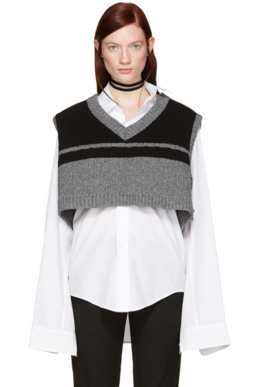 Raf Simons - Black & Grey Oversized Vest