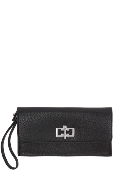 Carven - Black Leather Clasp Wallet