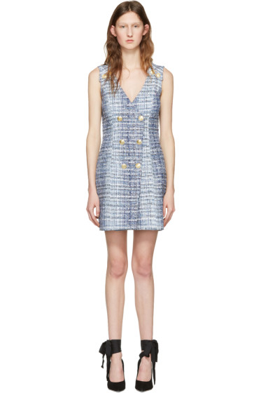Pierre Balmain - Blue Tweed Dress