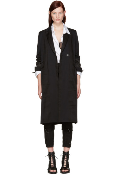 Ann Demeulemeester - Black Stripe Coat