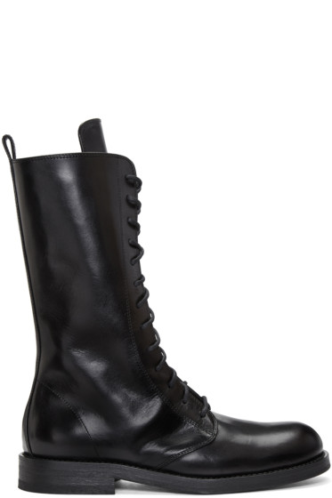 Ann Demeulemeester - Black Long Lace-Up Boots