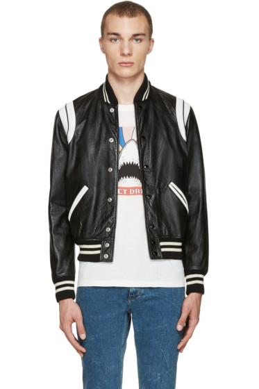 Saint Laurent - Black & White Leather Teddy Bomber Jacket