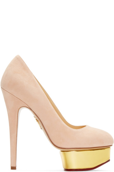 Charlotte Olympia - Pink Suede Platform Dolly Heels
