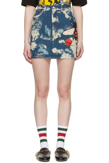 Gucci - Blue Denim Patches Miniskirt