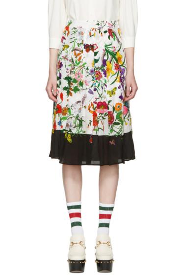 Gucci - Ivory Flora Snake Skirt