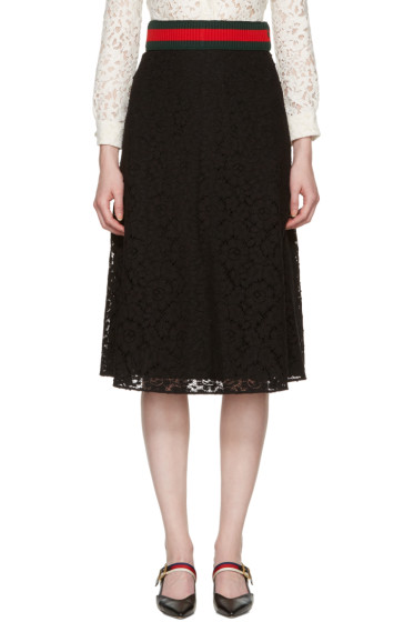 Gucci - Black Cluny Lace Skirt