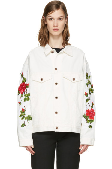 Off-White - White Denim Diagonal Roses Jacket