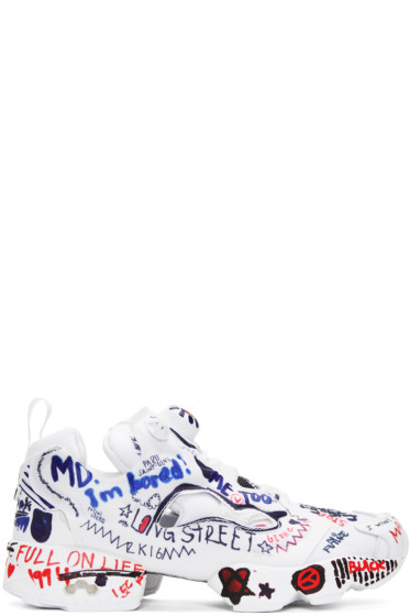 70c8ead7c48 Vetements White Reebok Edition Graffiti Instapump Fury Sneakers from ...